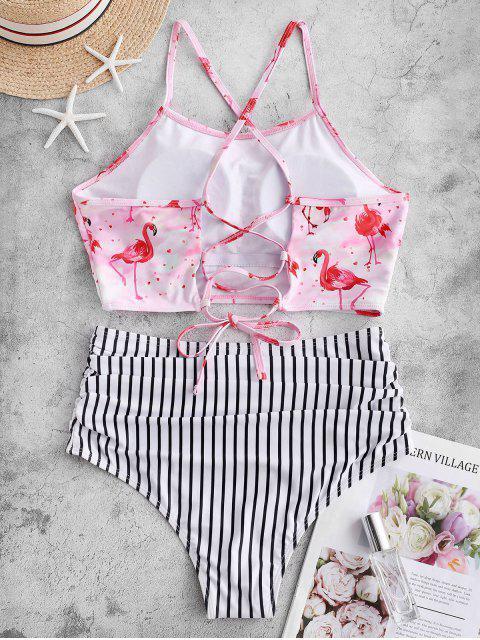Traje de baño Tankini con control de barriga a rayas flamingo ZAFUL - Multicolor-A XL Mobile