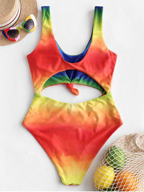 lady ZAFUL Tie Dye Knotted Cut Out One-piece Swimsuit - MULTI-C S Mobile