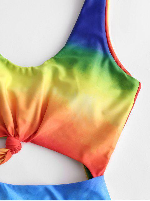 ZAFUL Tie Dye С вырезом С бантом Слитный Купальник - Многоцветный-С S Mobile