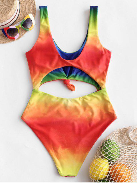 ZAFUL Tie Dye С вырезом С бантом Слитный Купальник - Многоцветный-С M Mobile