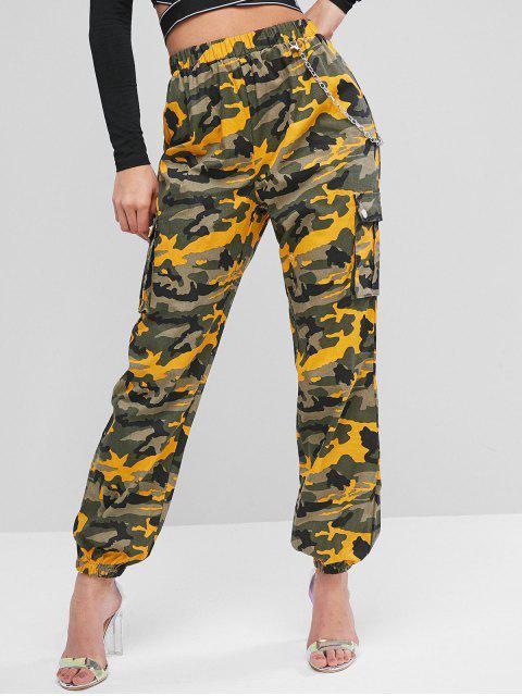 Pantalones de chándal con solapa y bolsillos con solapa de cadena - Amarillo S Mobile