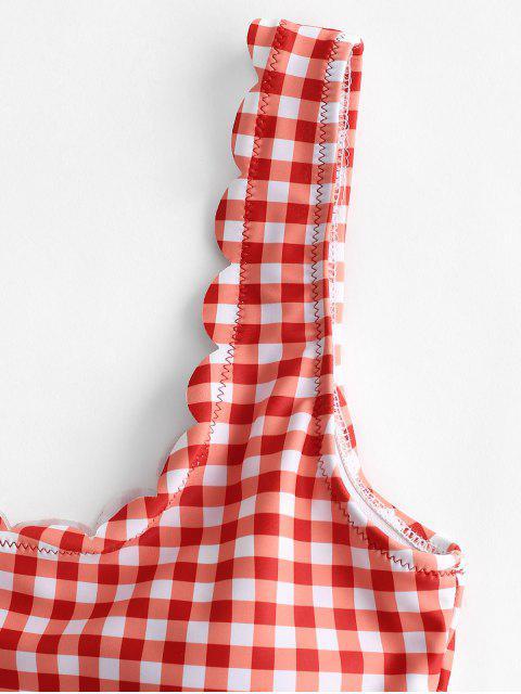 Bañador Tankini de cintura alta festoneado a cuadros de ZAFUL - Rojo Frijol S Mobile