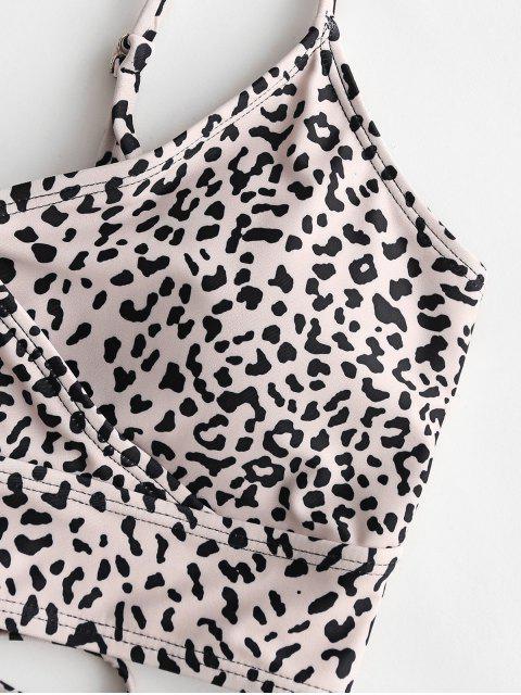 Traje de baño Tankini con control de barriga y leopardo con cordones de ZAFUL - Multicolor-A L Mobile