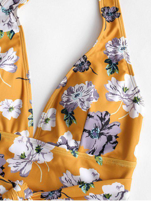 ZAFUL Цветочный принт Халтер Открытая спина Слитный Купальник - Многоцветный-A M Mobile