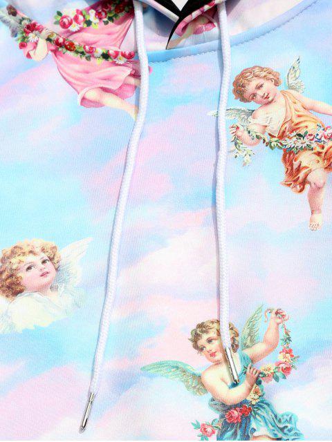 天堂天使與花卉印花袋鼠口袋抽繩連帽衫 - 多 L Mobile