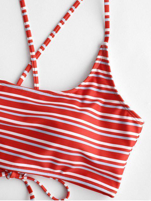 ZAFUL Maillot de Bain Bikini Croisé à Multi-Rayure à Lacets - Multi-A M Mobile