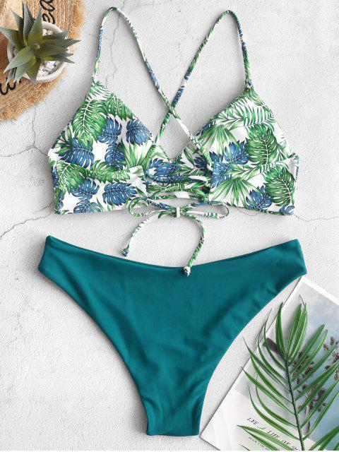 women's ZAFUL Lace-up Palm Leaf Tropical Bikini Swimsuit - PEACOCK BLUE S Mobile
