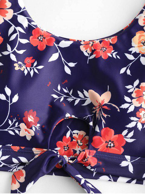 Traje de baño Tankini de cintura alta atado con ojo de cerradura de flores ZAFUL - Multicolor-A S Mobile