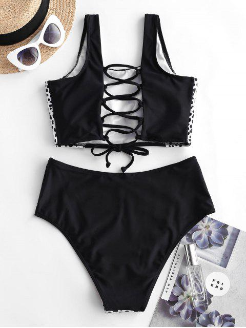 ZAFUL Impresión dálmata de encaje traje de baño de Tankini - Negro S Mobile