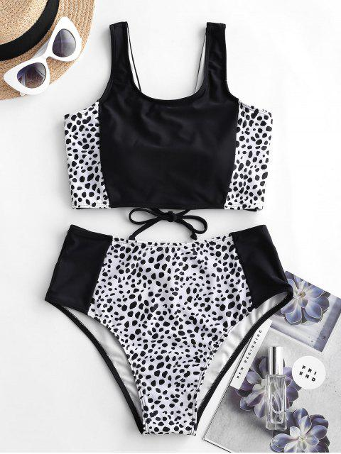 outfits ZAFUL Dalmatian Print Lace Up Tankini Swimsuit - BLACK M Mobile