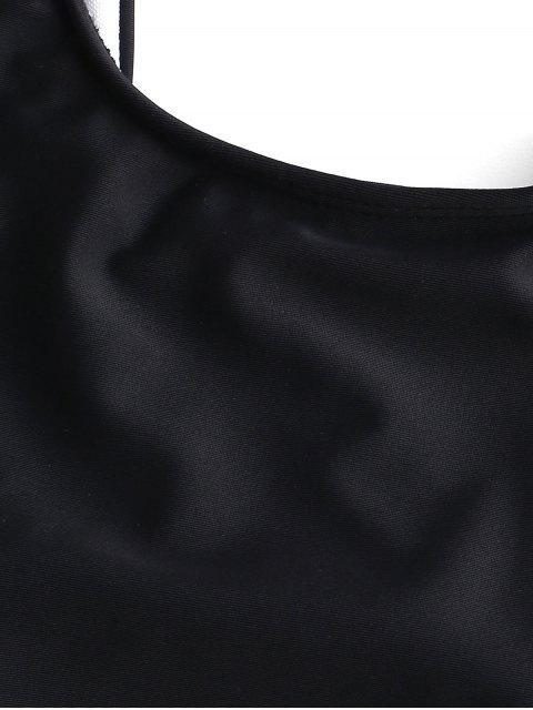 ZAFUL Maillot de Bain Tankini Dalmatien Imprimé à Lacets - Noir L Mobile
