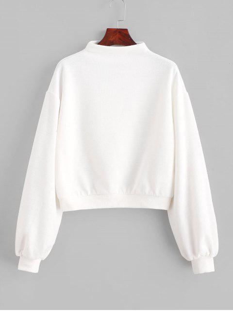 ZAFUL套頭衫Mock Neck平紋運動衫 - 牛奶白色 S Mobile