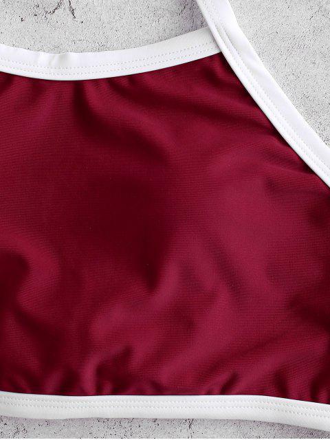 Contraste ZAFUL tuberías Halter Tankini del traje de baño de Control de Abdomen - Vino Tinto XL Mobile
