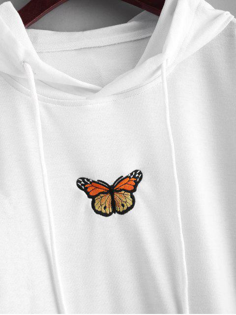 fancy Butterfly Embroidered Front Pocket Drawstring Hoodie - WHITE S Mobile