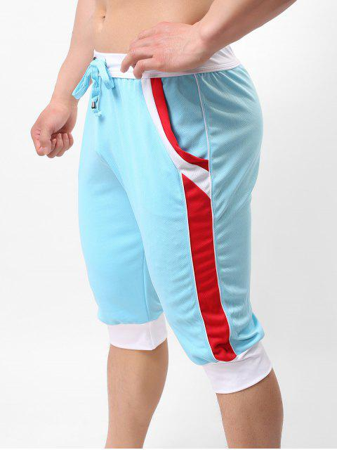 shop Color Block Pointelle Drawstring Jogger Capri Pants - LIGHT BLUE XL Mobile