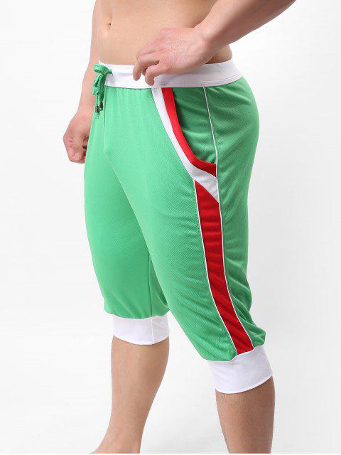 sale Color Block Pointelle Drawstring Jogger Capri Pants - GREEN XL Mobile