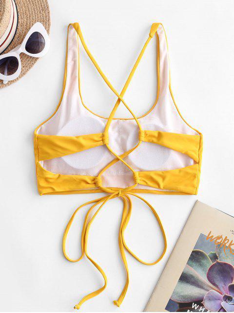 Bikini Top Corto di ZAFUL con Scollo a U - Giallo L Mobile