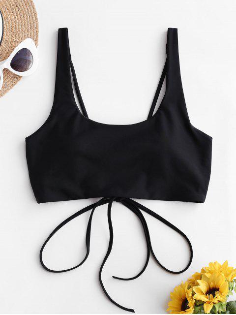 affordable ZAFUL Cross Back U Neck Crop Bikini Top - BLACK M Mobile