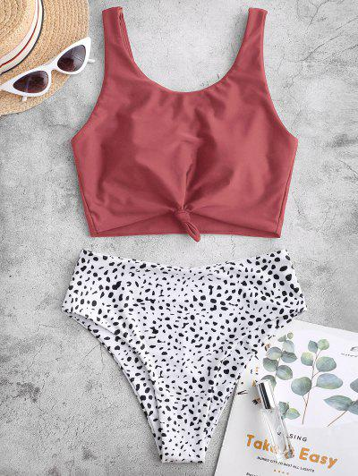 ZAFUL Knot Animal Print Tankini Swimsuit - Cherry Red Xl