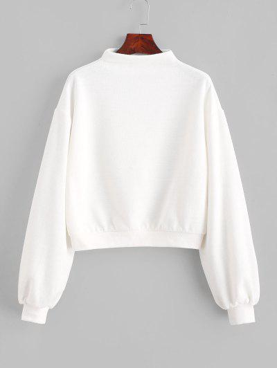 ZAFUL Pullover Mock Neck Plain Sweatshirt - Milk White M