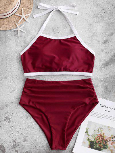 Contrast Binding Tie Back Tankini Swimwear