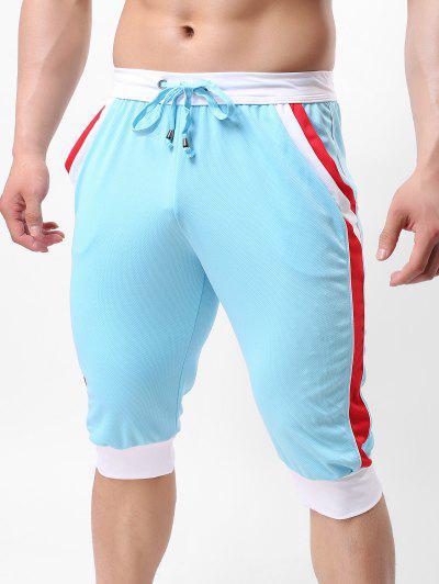 Pantalon De Joggine Capri En Blocsde Coleurs à Cordon - Bleu Clair Xl