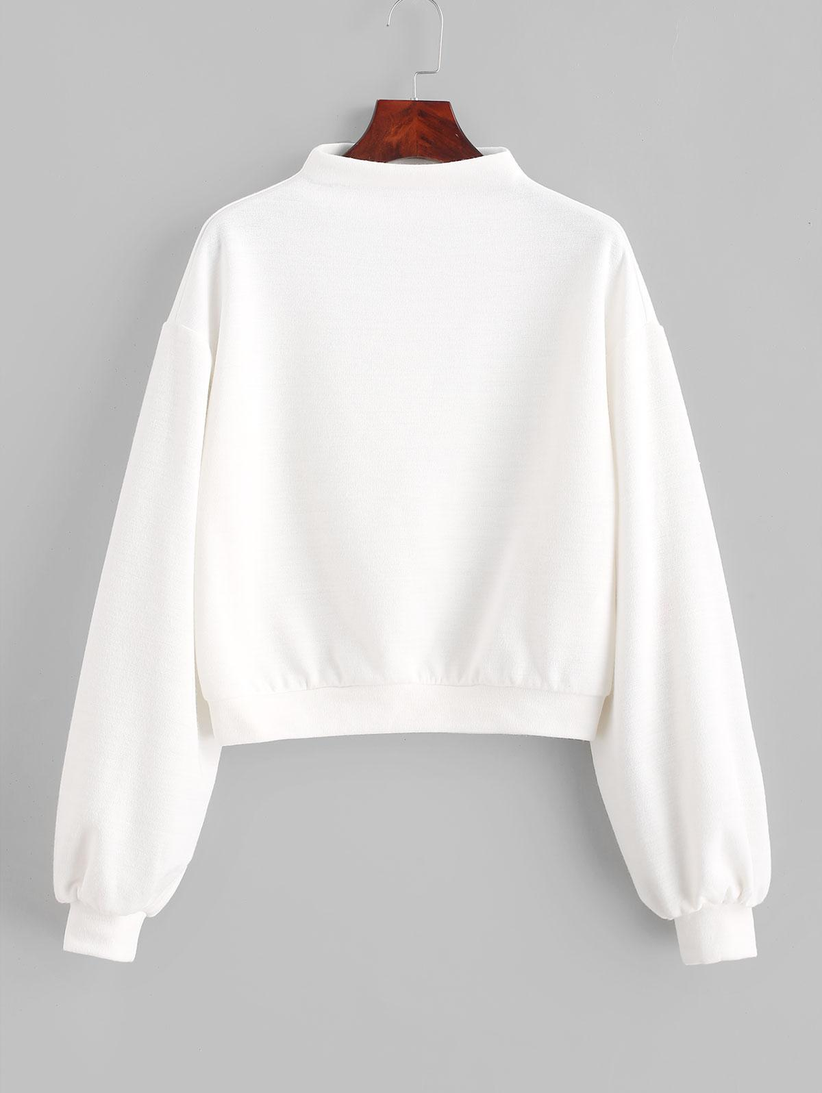 ZAFUL Pullover Mock Neck Plain Sweatshirt