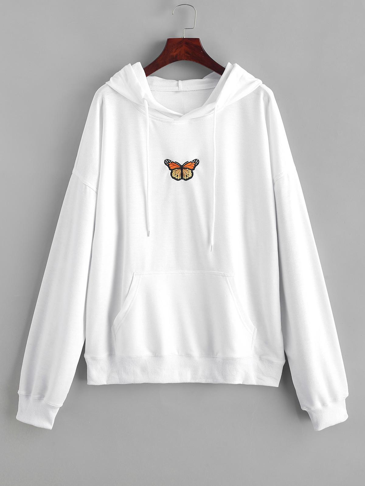 Butterfly Embroidered Front Pocket Drawstring Hoodie фото