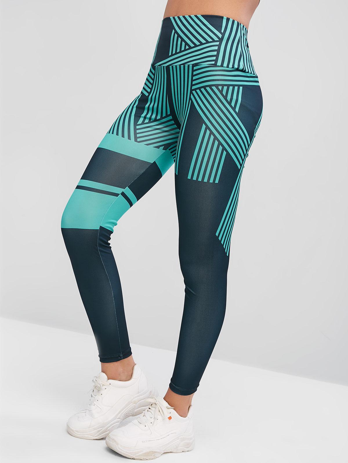 High Waisted Striped Skinny Leggings, Light sea green