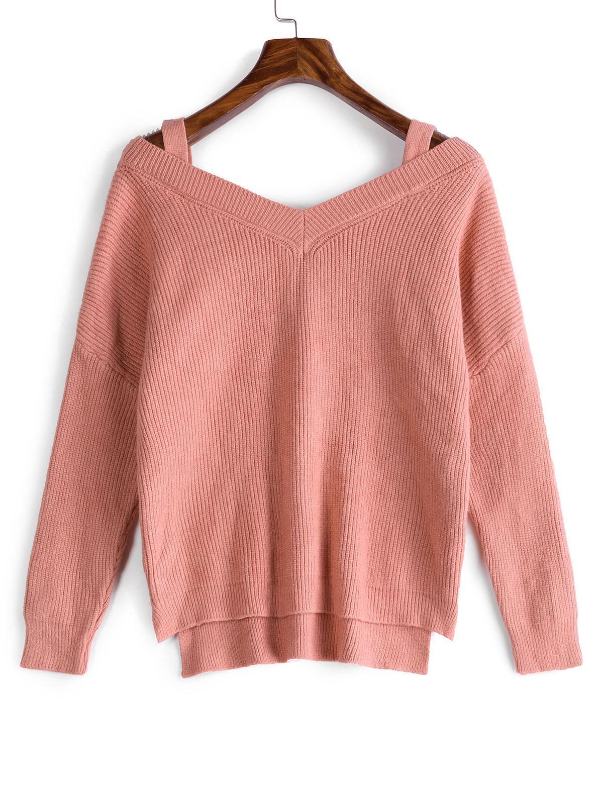 High Low Slit Cold Shoulder Pullover Sweater, Pink