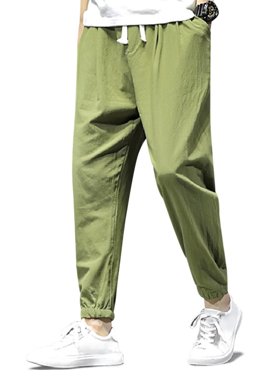 Solid Color Sport Casual Jogger Pants, Army green