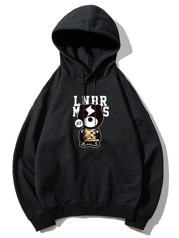 Cartoon Bear and Letter Print Kangaroo Pocket Hoodie, Black
