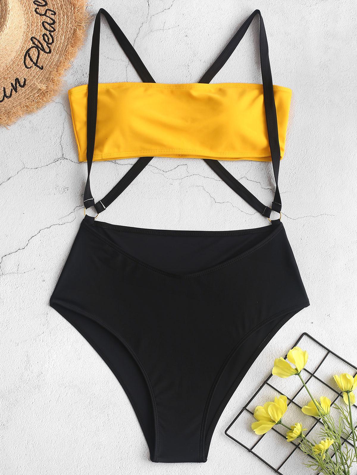 ZAFUL Two Tone Cross High Cut Suspender Bikini Swimsuit, Yellow
