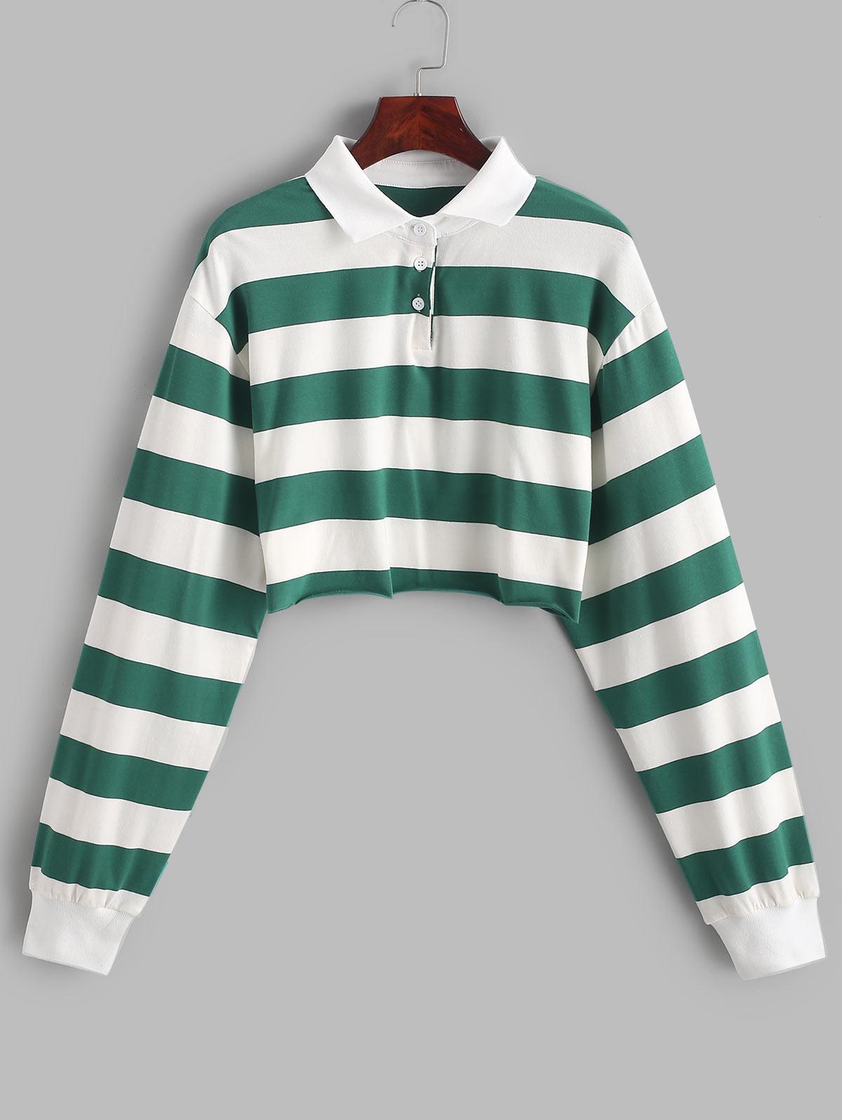 Contrast Striped Crop Half Button Sweatshirt