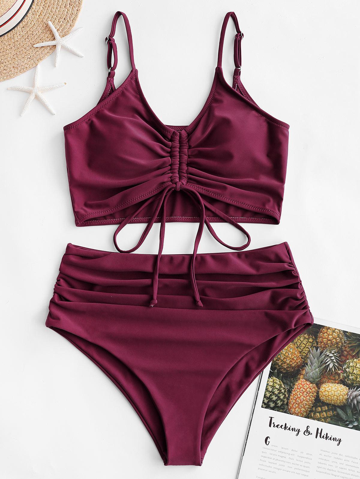 zaful Cinched High Waisted Tankini Swimsuit