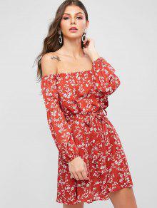 ZAFUL ديتسي طباعة قبالة فستان سموك الكتف - كستنائي أحمر M