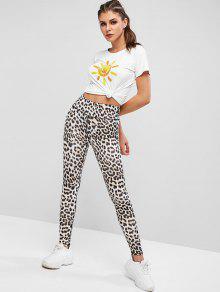 0ffed8d13674 Leggings de talle alto con estampado animal de leopardo y cintura ancha