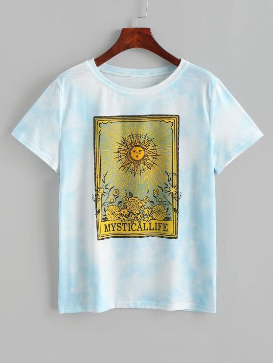 women Sun Floral Graphic Tie Dye Tee - BLUE L