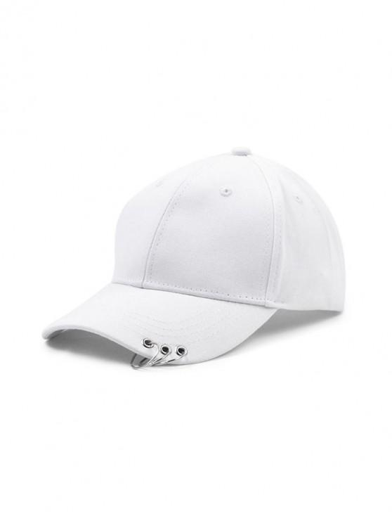 fancy Hoop Embellished Solid Baseball Cap - WHITE