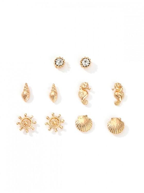 womens Nautical Style Hippocampus Shell Rhinestone Stud Earrings Set - GOLD