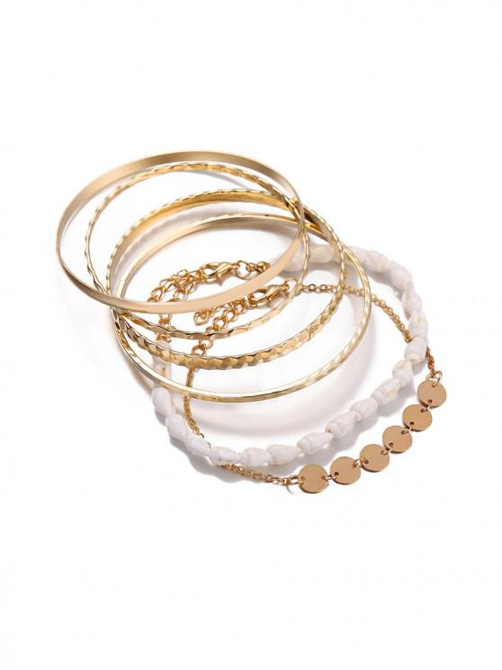online 5 Piece Simple Shell Disc Chain Bracelet Set - GOLD