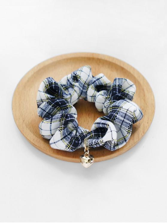 hot Heart Pendant Fabric Plaid Print Scrunchy - BLUE