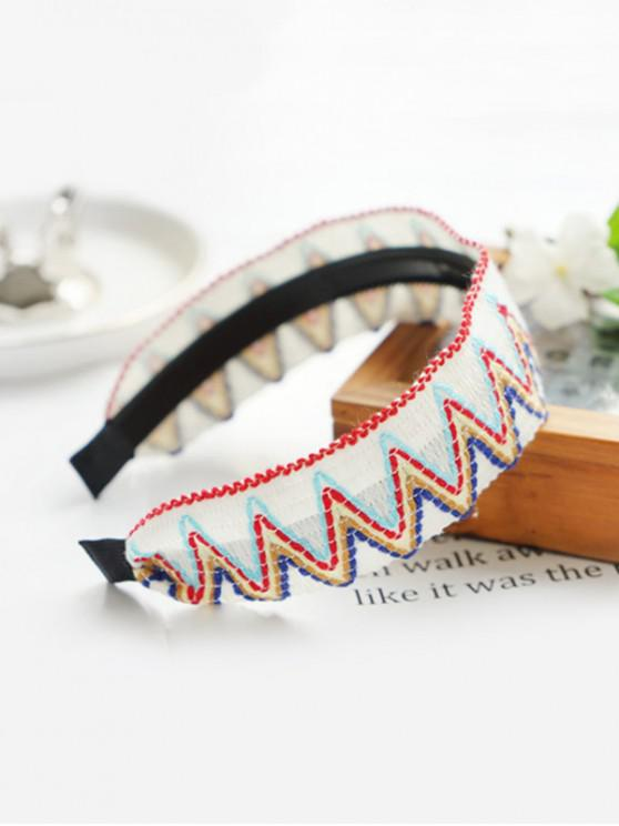 Bohemia Holiday Rainbow Wave Hairband tejido de dientes - Blanco