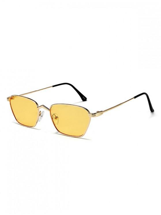 Gafas de sol de conductor de rectángulo estrecho de metal - Amarillo