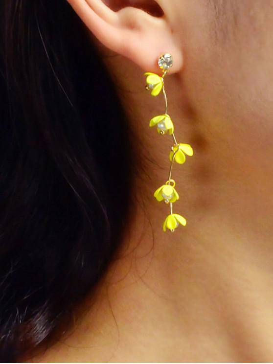 shops Faux Pearl Long Floral Stud Earrings - YELLOW