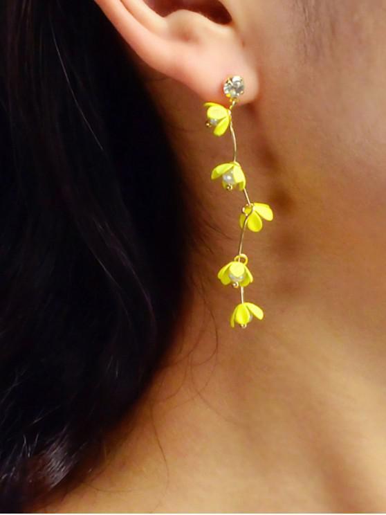 Künstliche Perlen-Lange Blumenohrstecker - Gelb