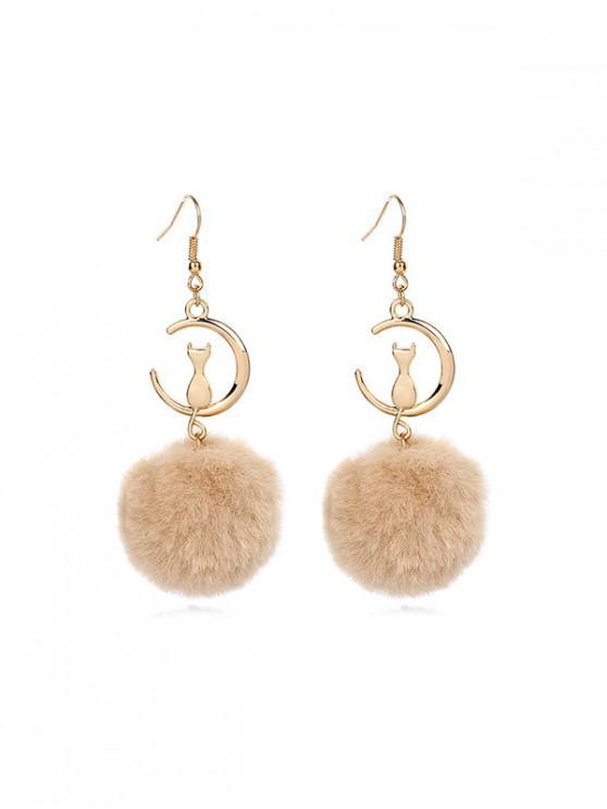 trendy Fuzzy Ball Cat Pattern Drop Hook Earrings - TAN