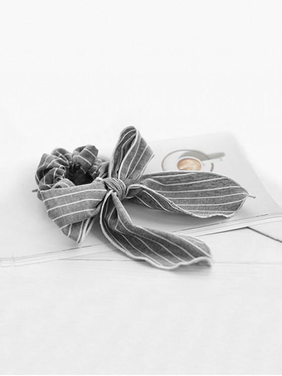 Gomas para el pelo con lazo de lazo de algodón a rayas - Gris Oscuro