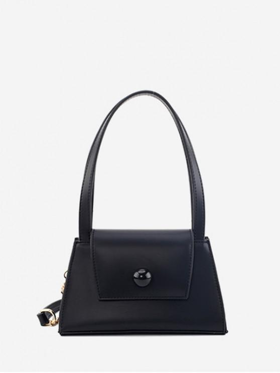 hot PU With Shoulder Strap Cover Solid Handbag - BLACK