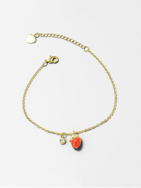 trendy Strawberry Rhinestone Pendant Chain Bracelet - GOLD